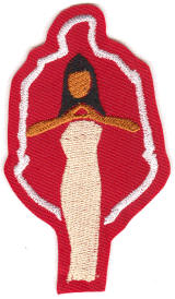 hand-sign lady w/ shield halo, originally designed by University Apparel