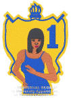 SGRho hand-sign lady w/ shield halo, originally designed by University Apparel